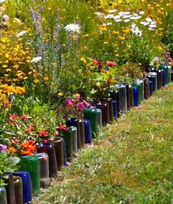 Wine Bottle Garden Edging - Garden Edging Ideas