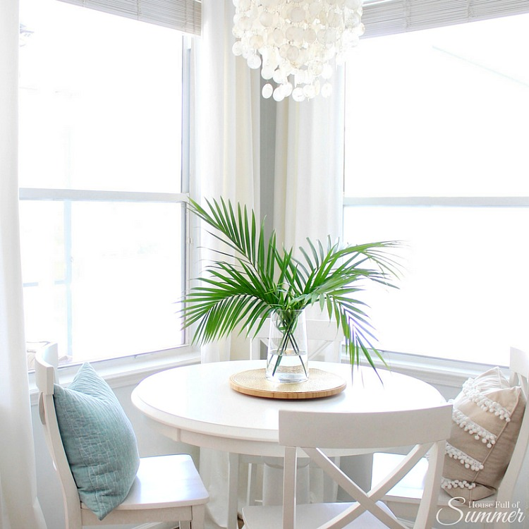 Coastal Diningroom - Easy decorating with greenery, palm fronds, and clippings