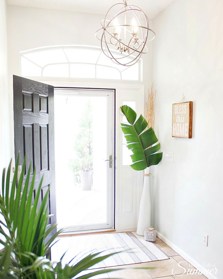 Coastal Entryway - Decorating with greenery and palm fronds
