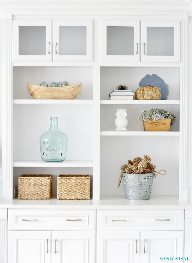 Coastal Fall Builtin Bookcases