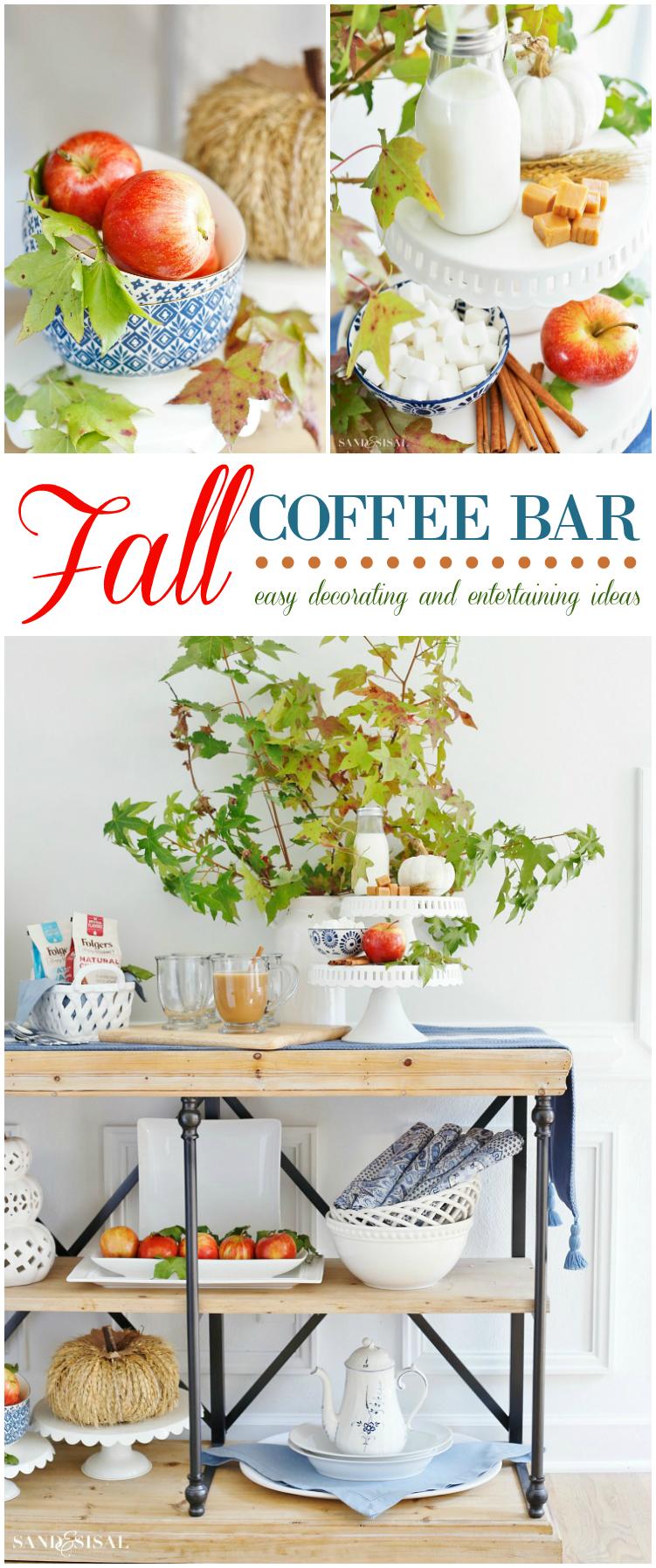 Fall Coffee Bar - Learn how to create a cute and festive fall coffee bar or coffee station, ready for entertaining or anytime you need to take a coffee break. Easy fall decorating tips!