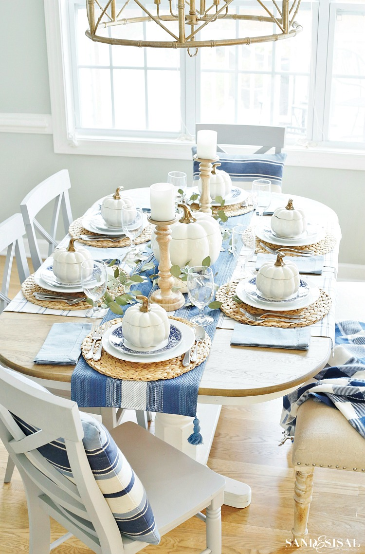 A Blue and White Thanksgiving Table