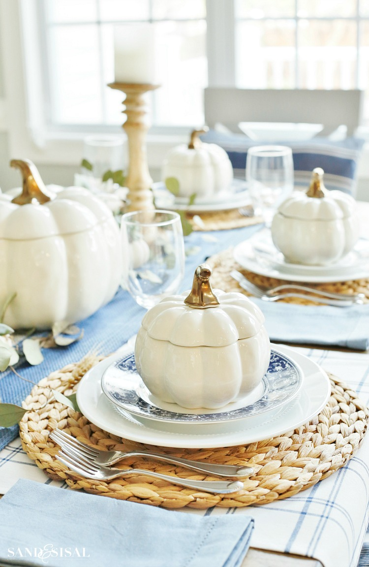 Blue and White Thanksgiving Table - Pumpkin Bowls