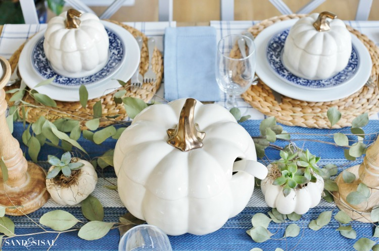 Blue and White Thanksgiving Table - White Pumpkin Soup Bowls