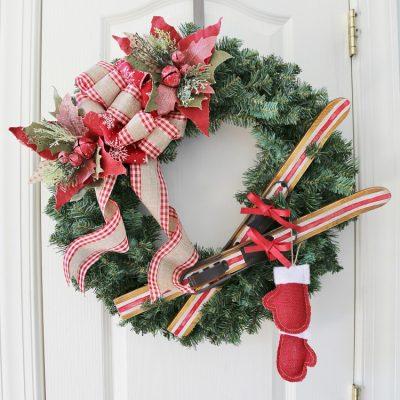 DIY Ski Lodge Christmas Wreath