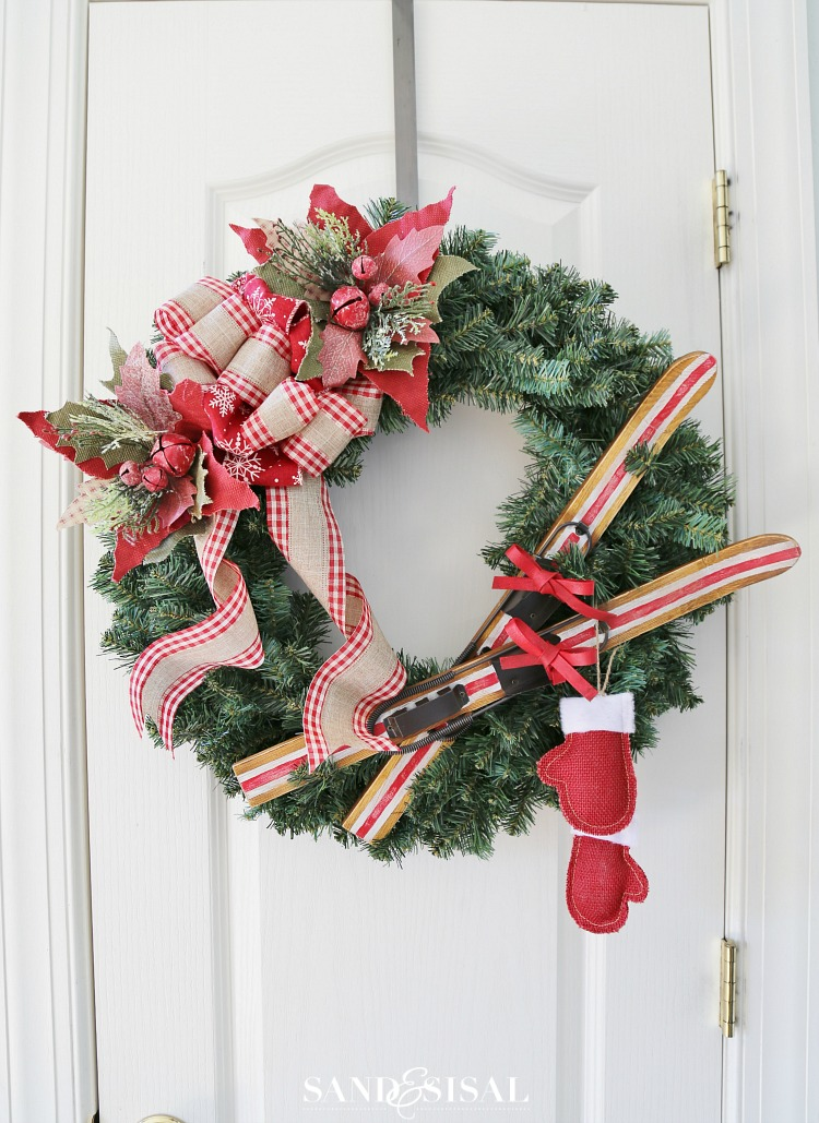 Christmas Ribbon Wreaths.Diy Ski Lodge Christmas Wreath Sand And Sisal