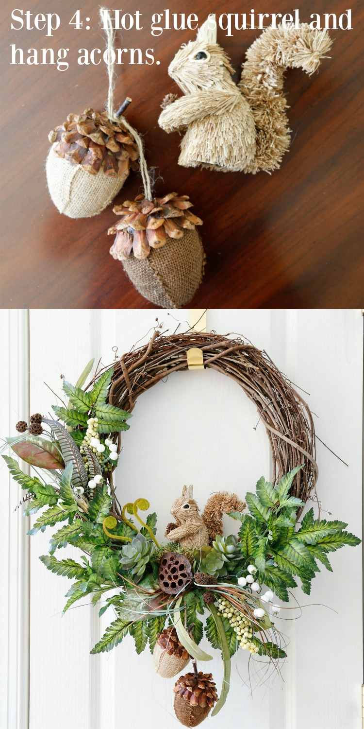 DIY Fall Woodland Wreath Step 4