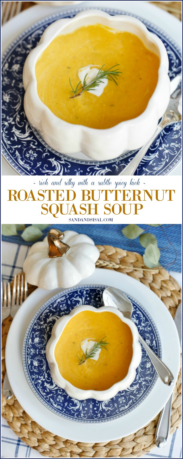 Roasted Butternut Squash Soup - rich and silky with a subtle spicy kick