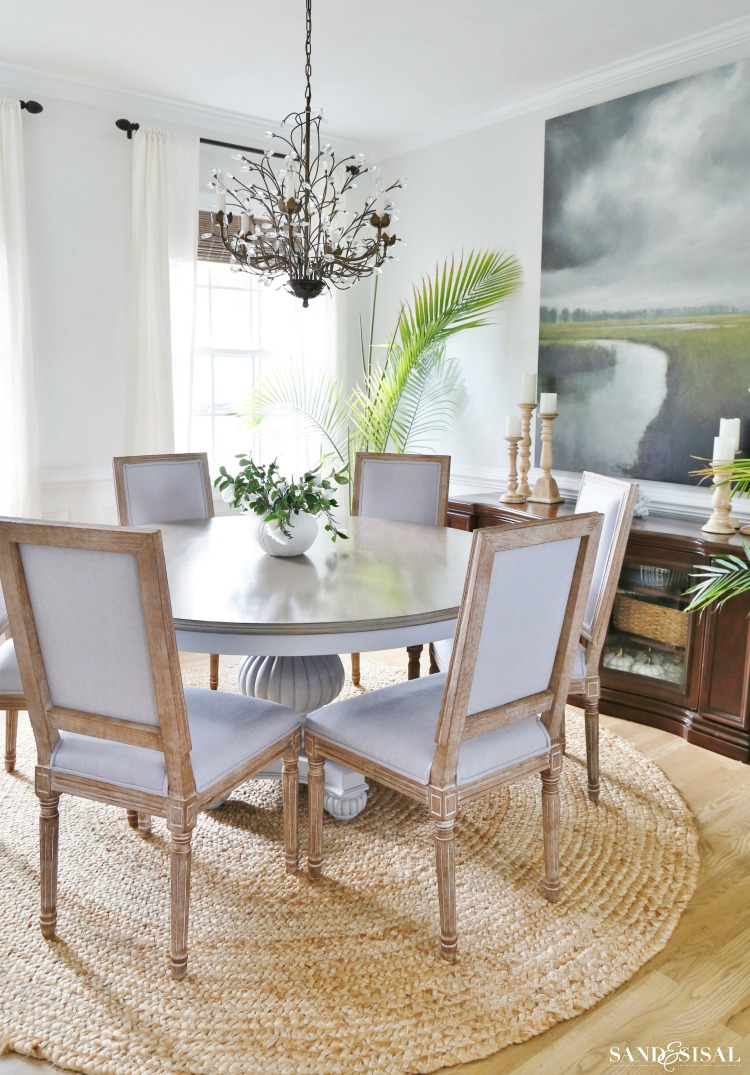 Coastal Dining Room with Driftwood finish table