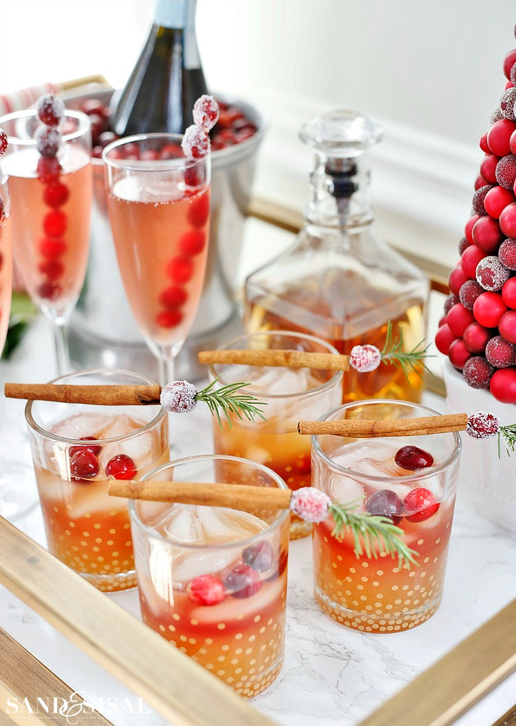 Cranberry Apple Cider Punch - alcoholic and non-alcoholic holiday cocktail recipe