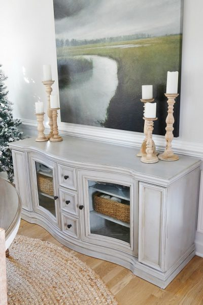 Chalk Paint and Dark Wax Buffet Table Makeover