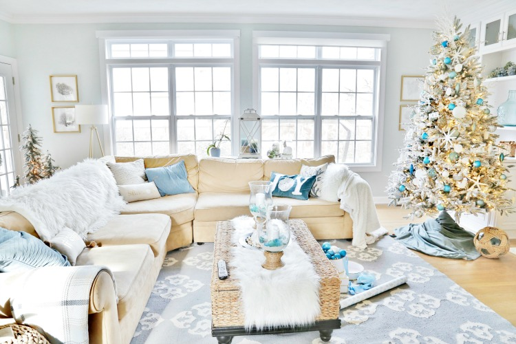 Coastal Christmas Family Room Tour