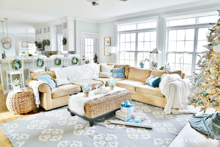 Coastal Christmas Family Room