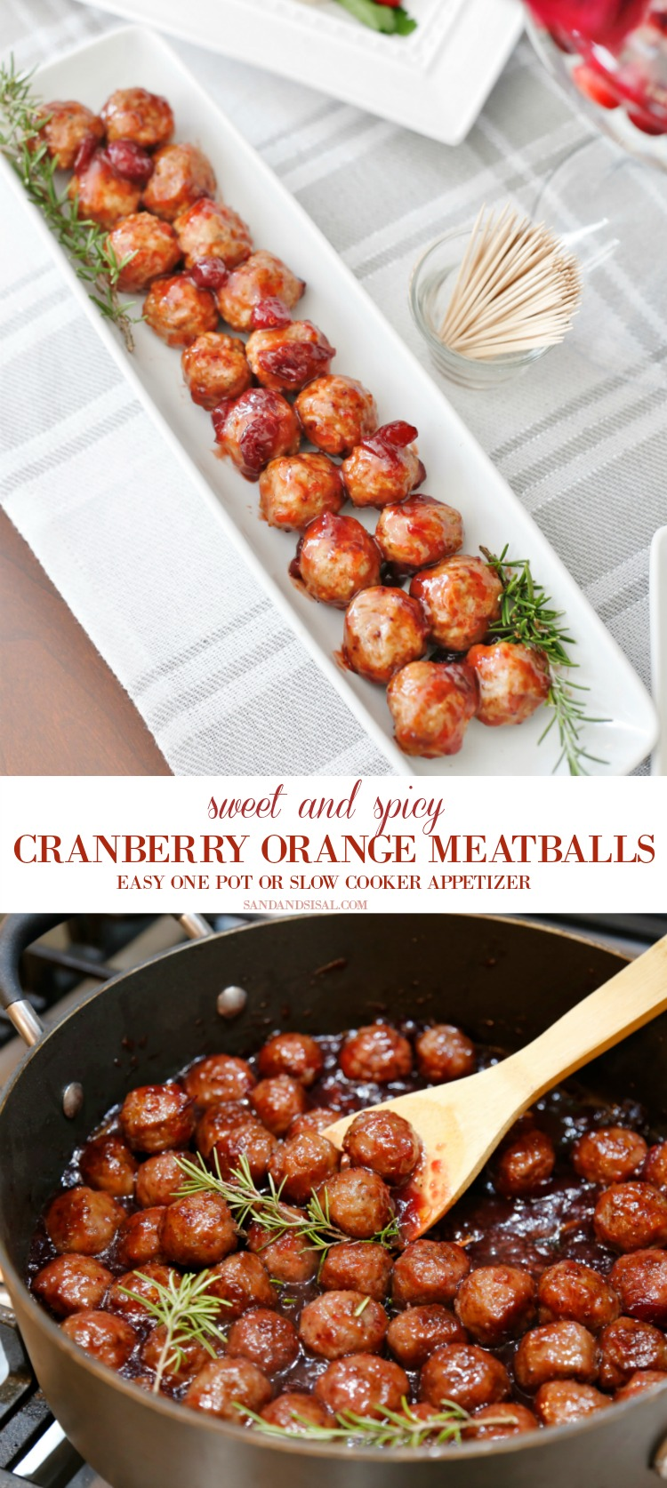 Sweet and Spicy Cranberry Orange BBQ Meatballs  #appetizer #meatballs #newyearseve #appetizers #gameday #partyfood