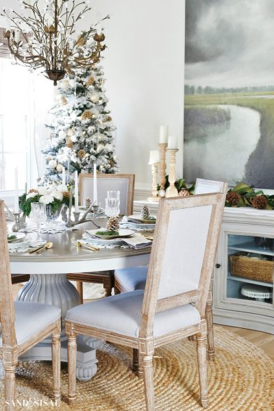 Neutral Christmas Rustic Glam Dining Room