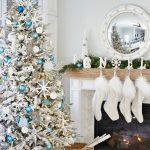 White Coastal Christmas Tree and Mantel