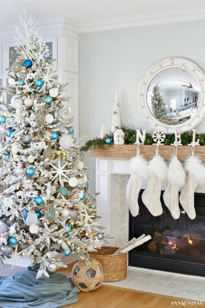 Coastal White Christmas Family Room