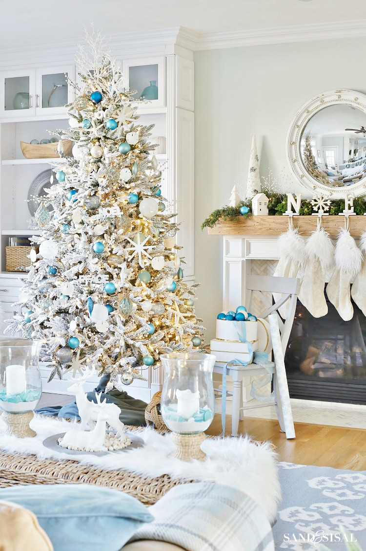 coastal white christmas tree and mantel and family room tour coastalchristmas coastal