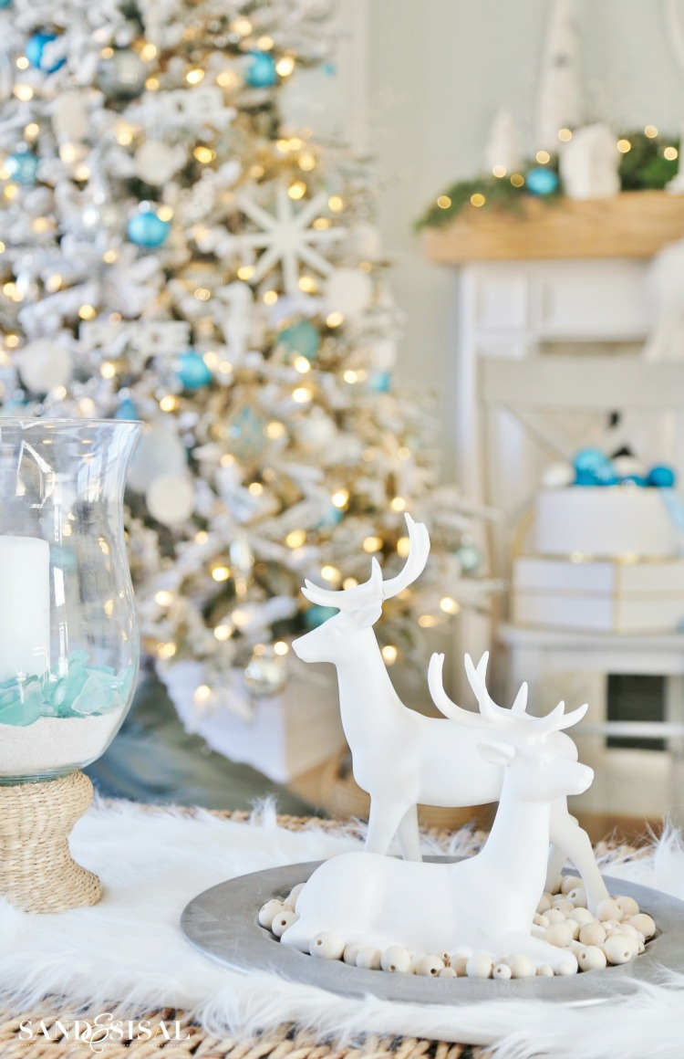 White reindeer Christmas Decor