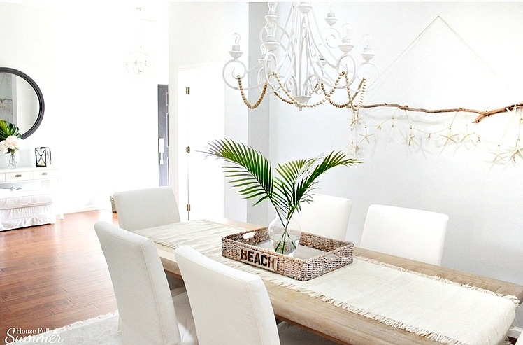 Coastal Dining Room with DIY Driftwood Wall Hanging