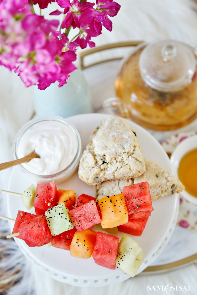 Tea Party Ideas - Green Tea Salted Melon Skewers - Early Gray Whipped Cream and Scones