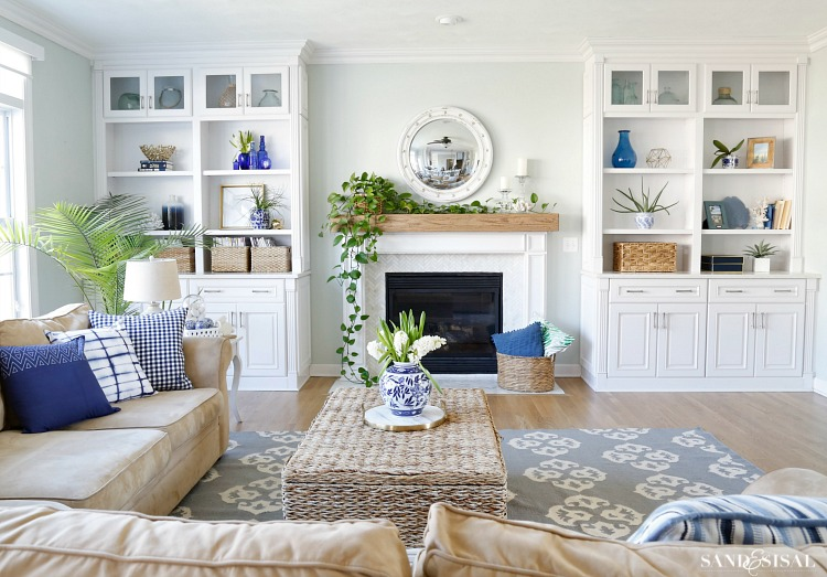 Blue and White Family Room Tour