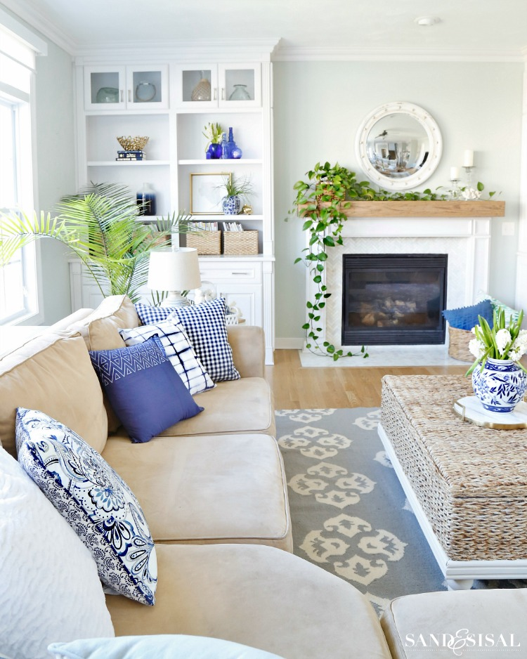 Blue and White Living Room - spring tour