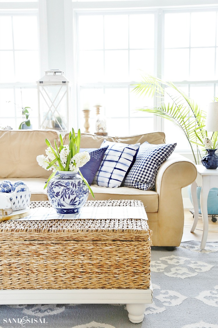 Blue and White Spring Living Room Tour