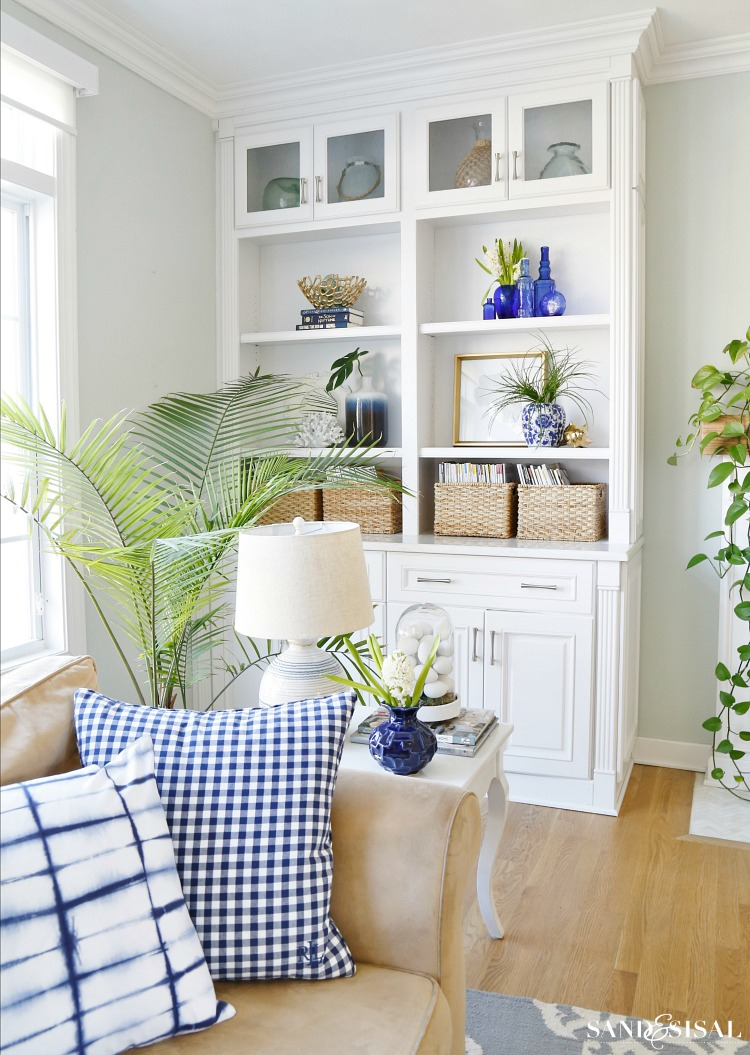Blue and White Spring Living Room Tour - Sand and Sisal