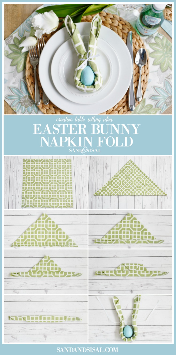 Easter Bunny Napkin Fold - Sand and Sisal