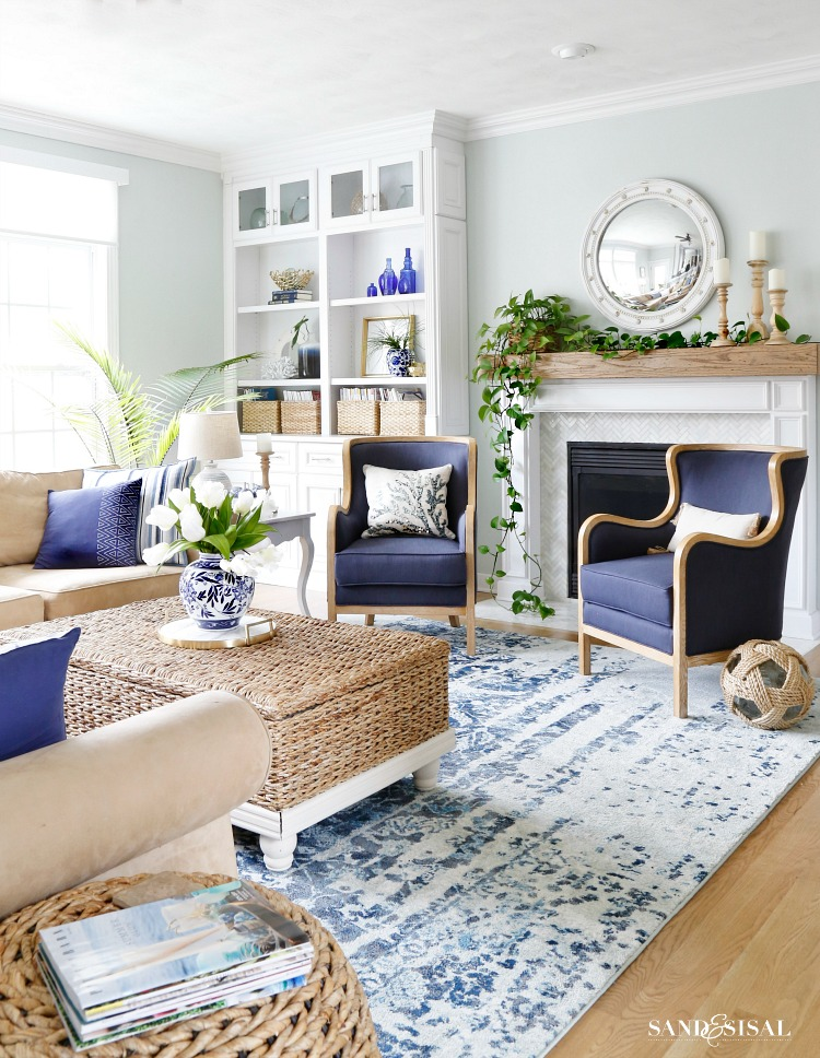 Blue And White Coastal Family Room Updates