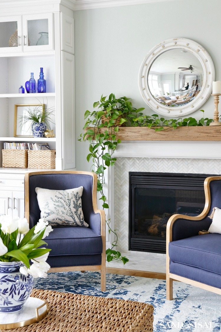 Coastal Living Room Blue and White