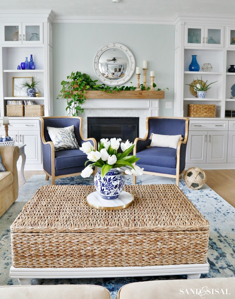 New Blue and White Living Room Decor
