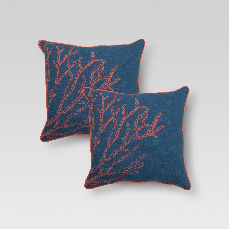 Coastal decor -Threshold Blue and Red Coral Pillow Set