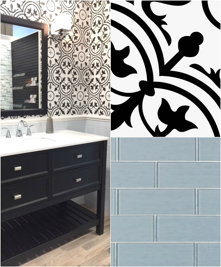 Black and white cement tile bathroom