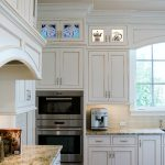Coastal Custom Cabinet Panels - Glass and Wood Mosaic Nautilaus