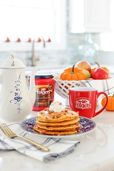 Coffee and pumpkin spice pancakes