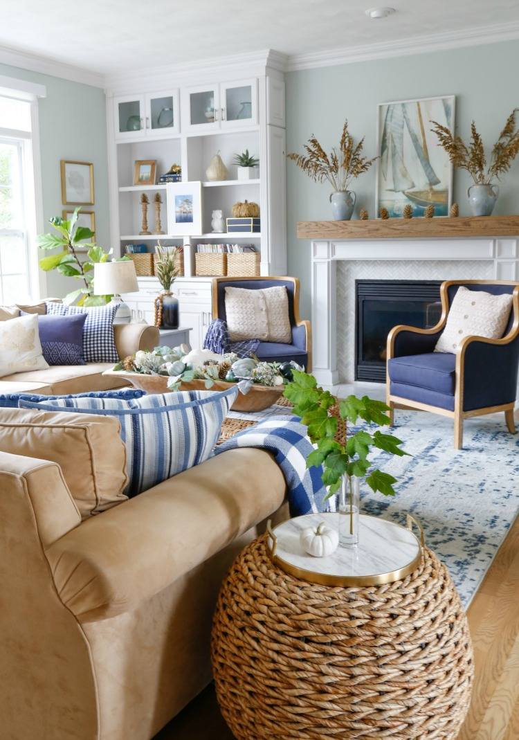 Navy and Neutral Fall Living Room