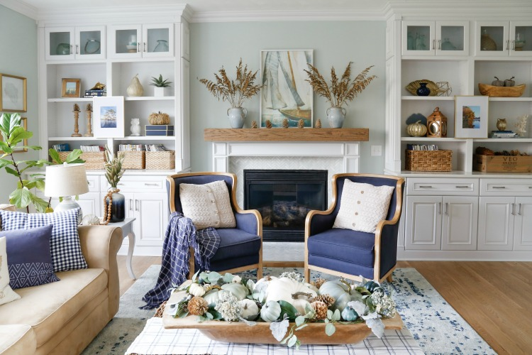 Navy and Neutral Fall Living Room Tour