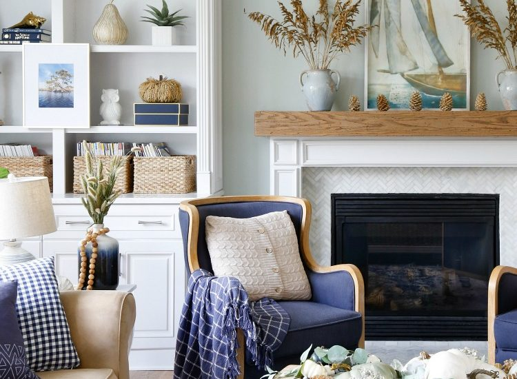 Navy and Neutral Fall Living Room and Kitchen Tour