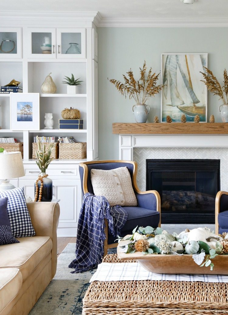 outstanding navy white living room | Navy and Neutral Fall Living Room + Kitchen Tour - Sand ...