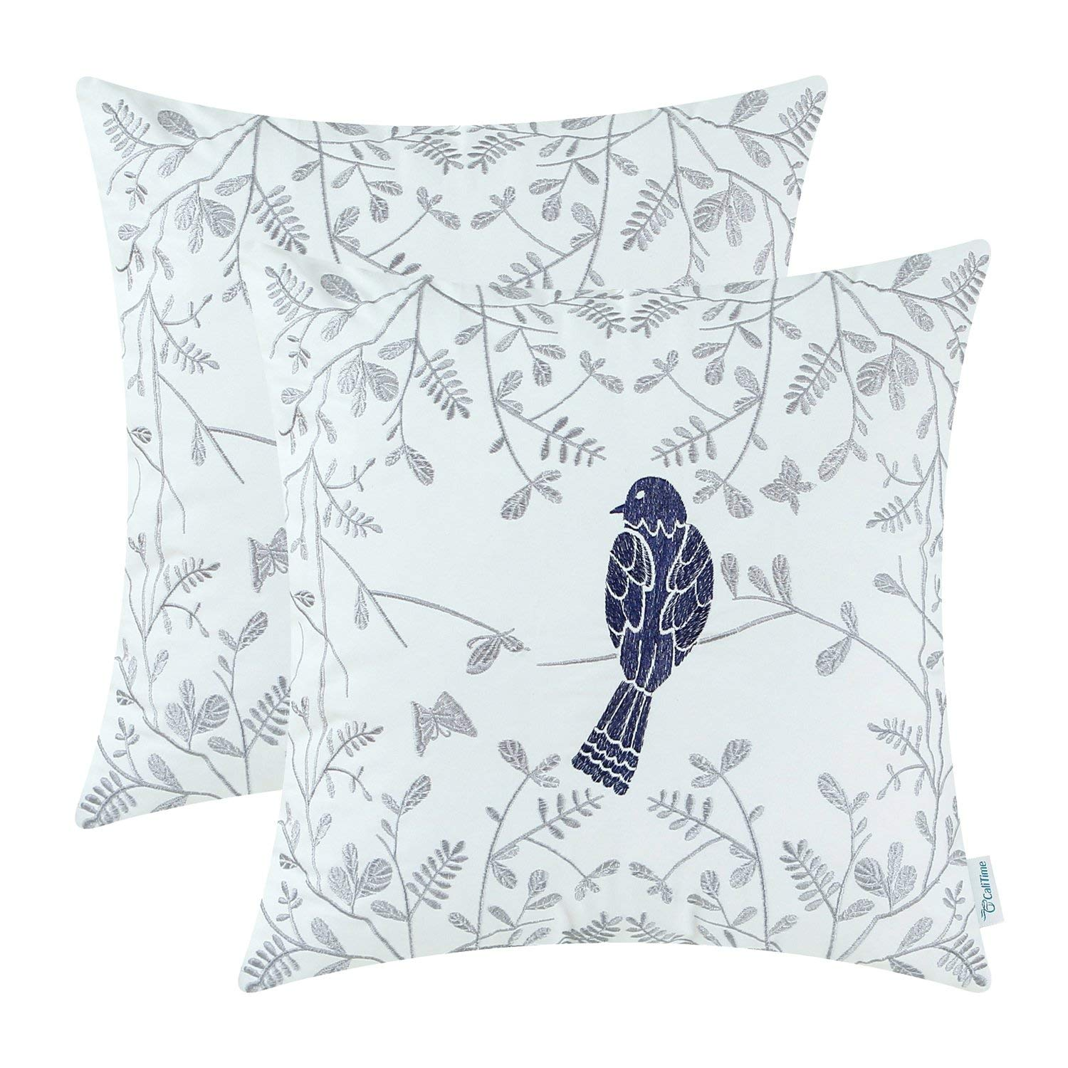 Blue and Gray Christmas Bird Pillow Cover