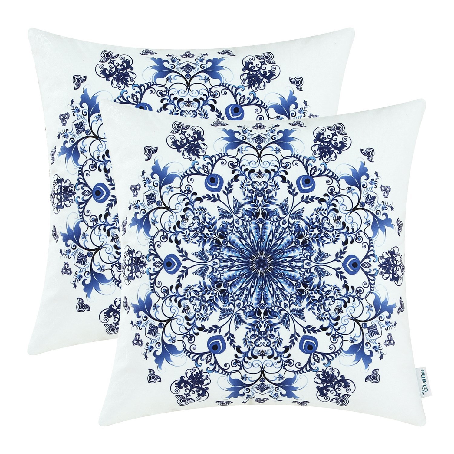 Blue and White Snowflake Pillow Cover