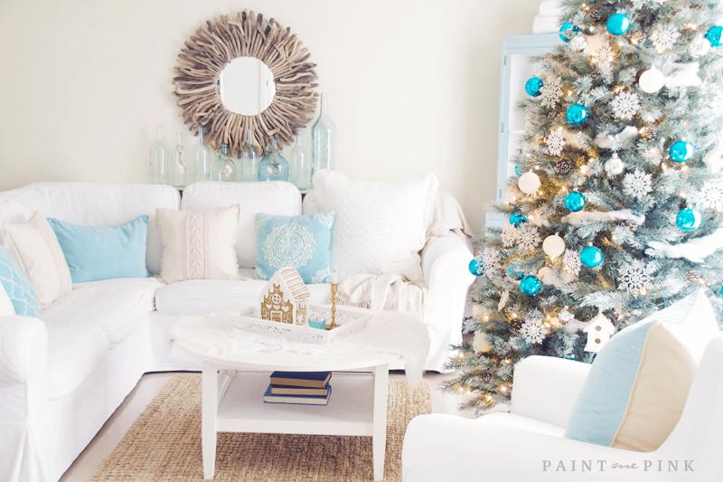 Coastal Christmas Living Room