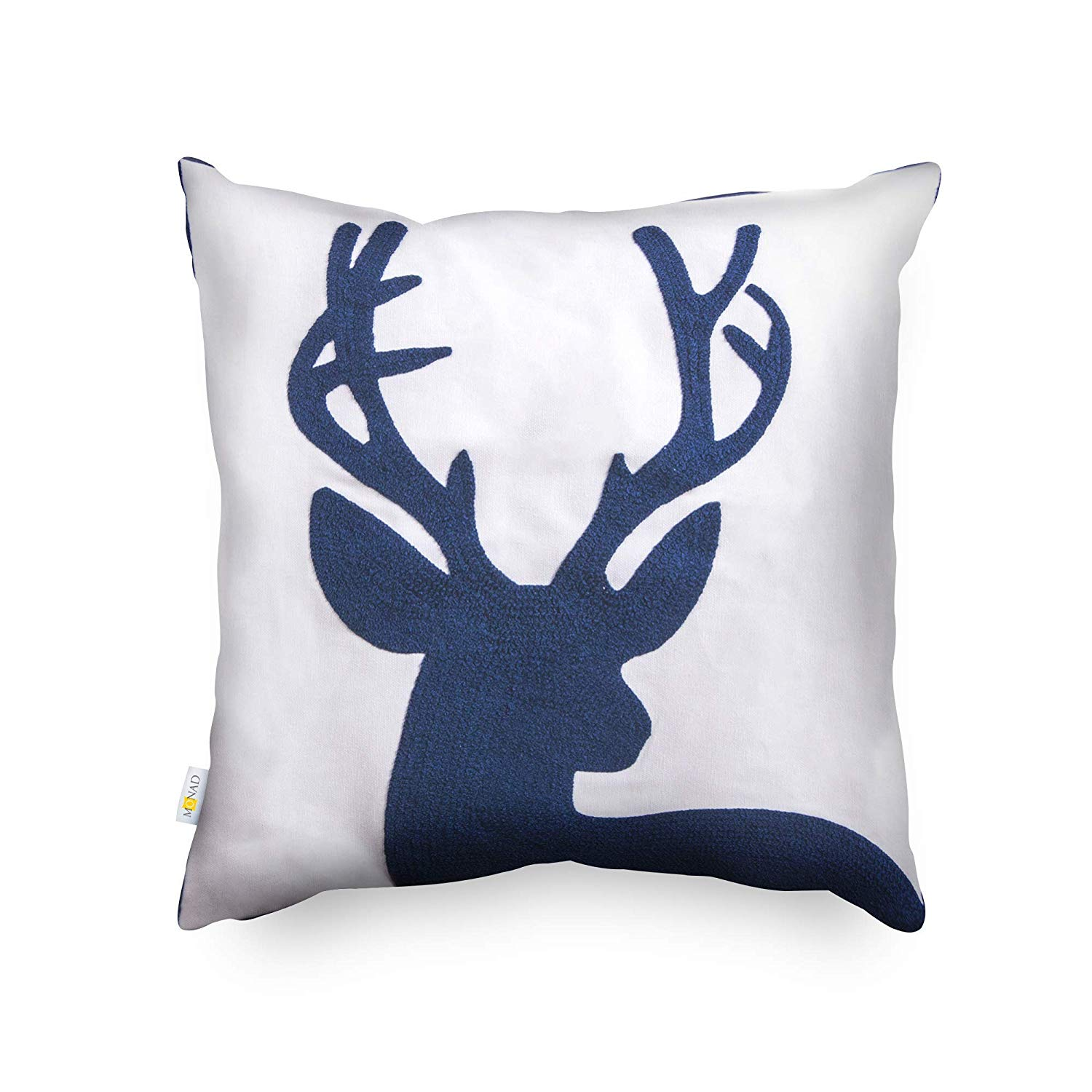 Embroidered Navy Reindeer Pillow Cover