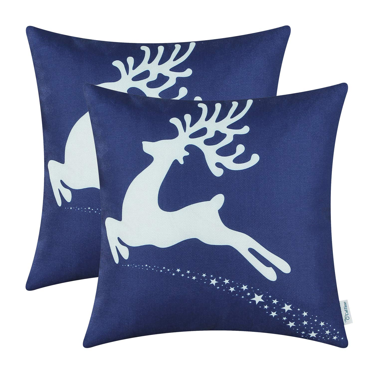 Navy Blue Reindeer Pillow Cover