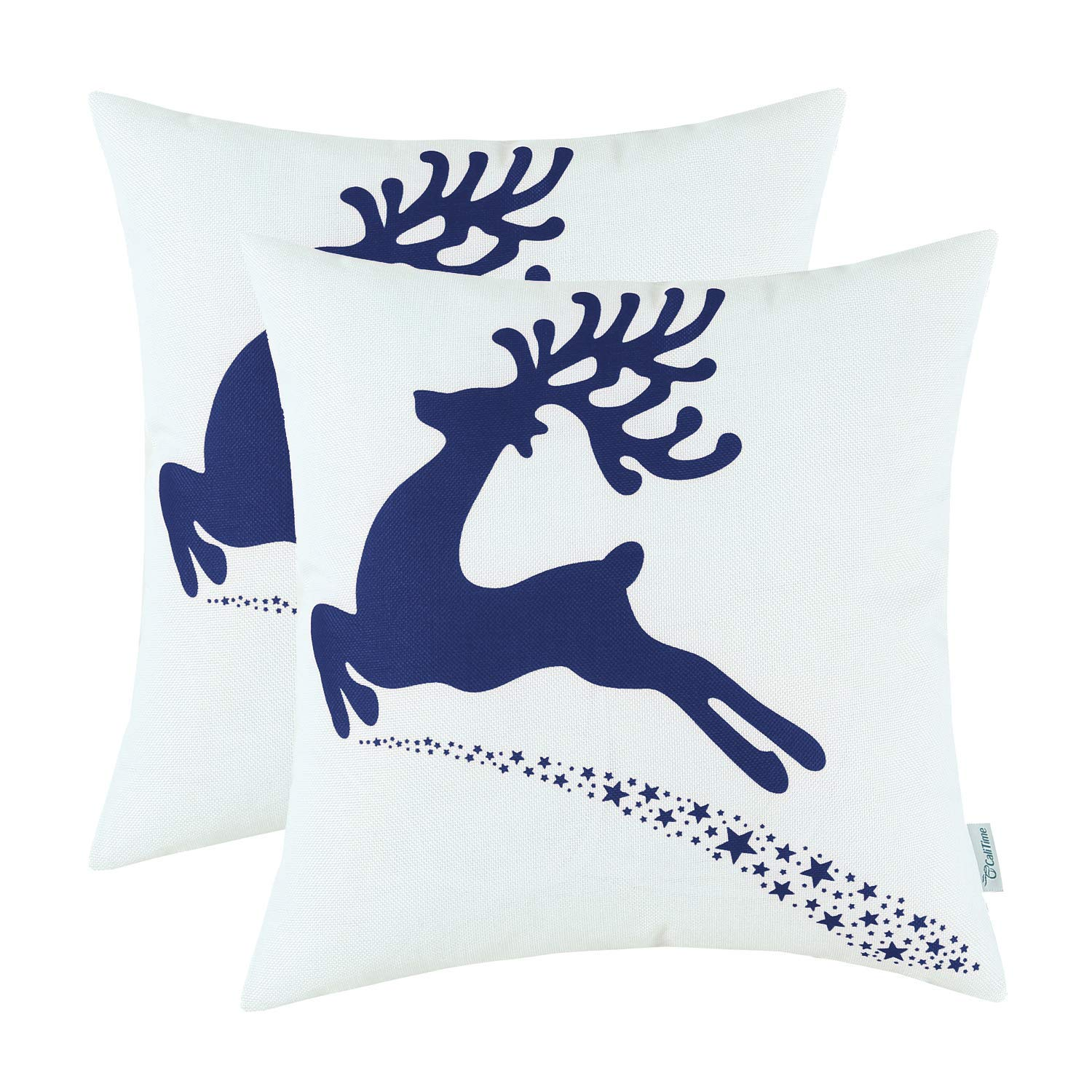 Navy Blue and White Reindeer Pillow Cover