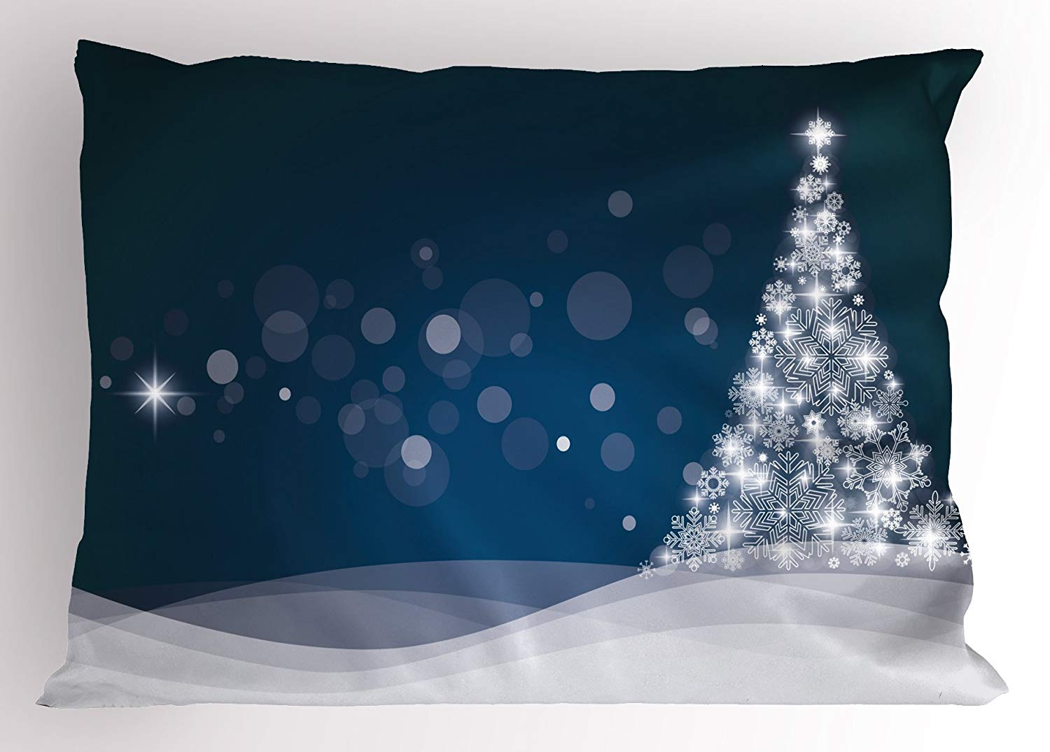 Navy Christmas Tree Pillow Cover
