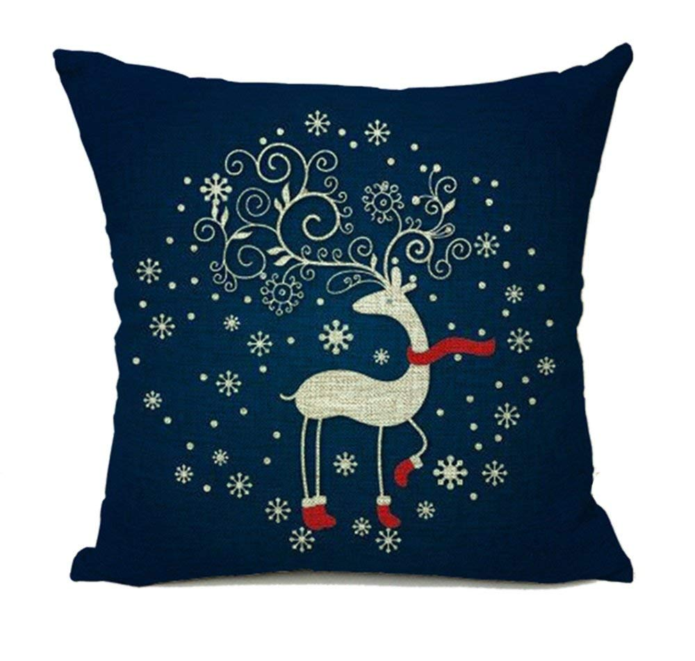 Navy Deer Christmas Pillow Cover