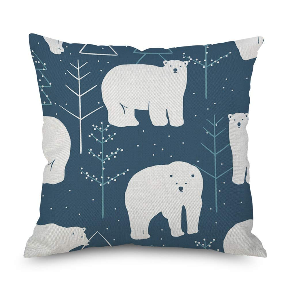 Polar Bear Christmas Pillow Cover